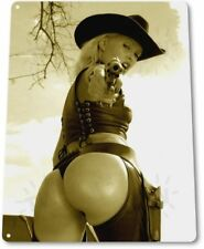 Pursuit Pinup Girl Sexy Cowgirl Farm Ranch Man Cave Wall Decor Metal Tin Sign