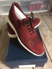 NEW Cole Haan 2.Zerogrand Suede Laser Wingtip Shoes 9.5M Burgundy/black/iv $300