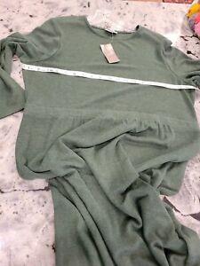 J Jill green Modal Wool Blend Long Sleeve Knit Maxi Dress Women's Size L/P NWT