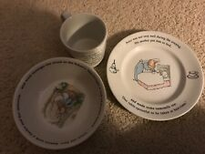Wedgewood Peter Rabbit read cup, saucer and bowl