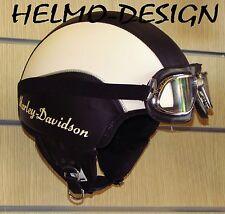 Casco Harley Davidson vintage vespa custom personalizzato in pelle logo laterale