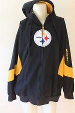 Pittsburgh Steelers Black Full Zip Front MENS HOODED SWEATSHIRT MENS SIZE ZXL