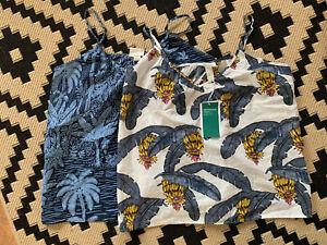 H&M Conscious Vest Tops Size Small Floral Leaf Surfer Print. Organic Cotton