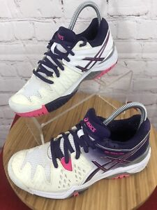 Asics Womens Gel Resolution 6 Tennis Shoes (E550Y) White-Purple-Pink Size 5.5