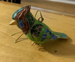 Enameled Cloisonné  Green Bird  Hanging Christmas Ornament C10