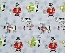 DEBBIE MUMM SNOWMAN ALL BUNDLED UP CHRISTMAS  HOLIDAY 100% COTTON FABRIC YARDAGE