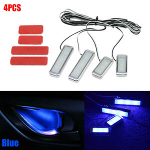 4X Blue Car Door Bowl Handle LED Ambient Atmosphere Light Interior Accessory