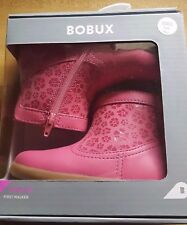 New Bobux Step Up Flower Suede Girl's 727101 Side Zip Up Leather Ankle Boots Sz6