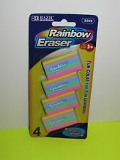 BAZIC Rainbow Eraser 4 Per Pack ,Assorted Color