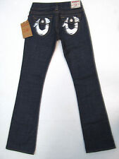 $196 NWT True Religion BECKY Boot Cut Silver Foil Flaps Dark Wash Jeans 26 x 34