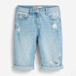 Ladies Next Denim Knee Length RIPPED Shorts Blue Sizes 6 - 26 NEXT DAY OPTION