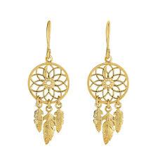 Dream Catcher w Feathers Design Drop Earrings in 14K Yellow Gold