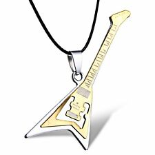 Fashion Guitar Gold Punk Rock Stainless Steel Necklace Leather Pendant Chain