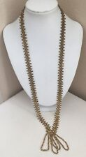 Vintage Glass Seed Bead Long Beaded Flapper Tassel Necklace Gold Tone