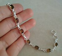 NATURAL OVAL BROWN SMOKY TOPAZ 925 STERLING SILVER LINK CHAIN BRACELET 7.5""