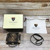 NEW ASPINAL OF LONDON Brown Snakeskin Print Mini Trunk Clutch Bag Small 21306
