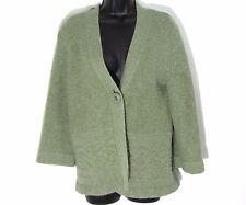 VALERIE  BERTINELLI L cardigan sweater moss green angora blend  button 3/4 sleev