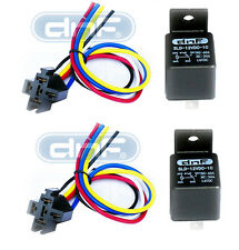DNF (2 PAIR) 12V 30/40 AMP BOSCH STYLE RELAY & HARNESS SOCKET SPDT 100% COPPER