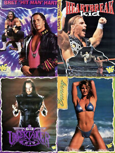 "4 Vintage Posters 1997 WWF Wrestling ""NEW OLD STOCK"" Shawn Michaels, Bret Hart.."