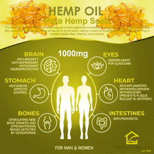 Pure Hemp Seed Oil Capsules 1000mg x 180 - Omega 3 & 6 - GLA - Cold Pressed
