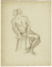 Page from the school album of RUSSIAN ARTIST M.A.Markov NUDE MALE  on the stool