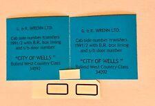 WRENN BULLEID 'CITY OF WELLS' 34092 cab side 1992& Smoke Box Door number-REDUCED