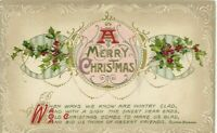 "Antique Post Card c. 1911 "" A MERRY CHRISTMAS "" Embossed"