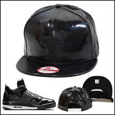New Era Chicago Bulls Snapback Hat Cap ALL BLACK PATENT LEATHER Jordan 11lab4