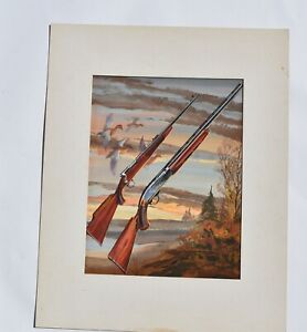 ORIGINAL PAINTING ILLUSTRATION ADVERTISING ART REMINGTON SHOTGUN AND RIFLE
