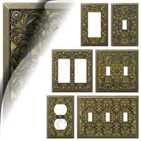 Antique Brass Filigree Switch Plate Arabesque Wallplate Toggle Rocker Outlet GFI