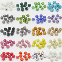20Pcs Czech Crystal Rhinestone Pave Clay Disco Ball Round Spacer Beads DIY