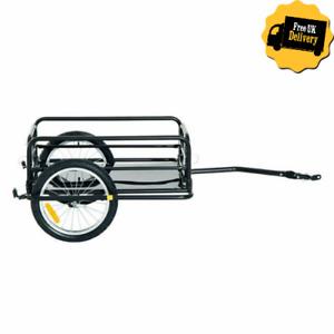 Folding Bike Trailer Cargo Bicycle Storage Carrier Steel Pull Transporter Black