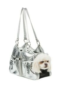 PETOTE METRO Silver Gator with Tassel Tote Dog Carrier Bag 3 Sizes