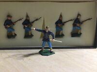 Vintage Handpainted Lead Toy Soldiers Charging
