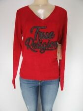 NWT True Religion LONG SLEEVE V SWEATER, RUBY RED, Size M, Retails $79