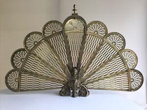 Vintage Brass Griffin Base Peacock Fire Screen - Mid Century Art Deco Nouveau
