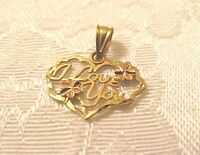 VINTAGE I Love You Heart Flowers 14K Yellow Rose Gold Pendant MIchael Anthony