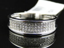 Mens 10k White Gold Diamond Pave 6 MM Wedding Engagement Band Ring .25 Ct