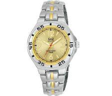Q&Q F346-403Y Mens Silver Dive Dress Quartz Bracelet Watch New Citizen Movement
