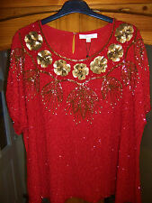 BNWT- ANN HARVEY TOP SIZE 28 - VINTAGE BEADED TOP - XMAS PARTY TIME
