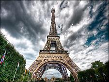 Paris Eiffel Tower Home Decor Canvas Print A4 Size (210 x 297mm)