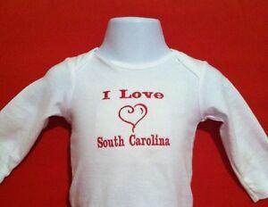 I Love South Carolina   Baby Bodysuit  Embroidered