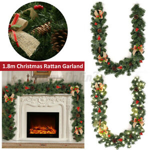 1.8M Christmas Rattan Garland Decorated Bauble LED Light Party Xmas Decor Supply