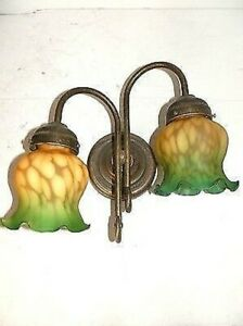 Appliques Wall Lamp Brass Two Lights With Glass Orange Green
