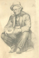 Early 20th Century Graphite Drawing - The Smoking Man