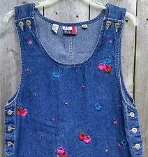JLNY Sport Jumper Vtg Denim Overall Dress Medium Floral Embroidered Blue Jean