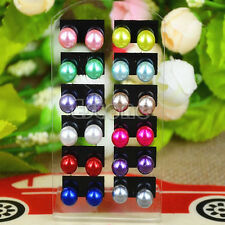Modish Women's 12 Pairs Ear Stud Faux Pearl Round Ball Earrings Set Multi-color