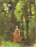 """Russischer Realist Expressionist Öl Pappe """"Mädchen im Wald"""" 24x15 cm"""