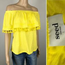 ** SEED HERITAGE ** NWT $49.95 * Sz XS (8) Yellow Tassle Summer Off Shoulder Top