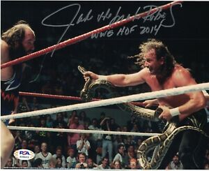 PSA/DNA Authentic Jake The Snake Roberts vs Earthquake Autograph 8x10 Photo HOF